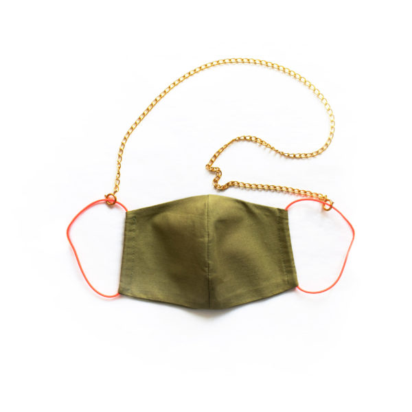 Face mask khaki / neon with gold chain