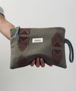 malou linen clutch taupe